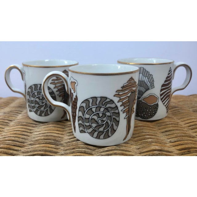 Boho Chic Fitz and Floyd for Neiman Marcus Shell Motif Espresso Demitasse Cups - Set of 3 For Sale - Image 3 of 11
