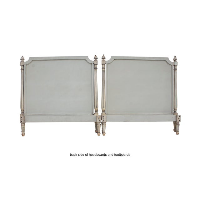 Pair of Carved Louis XVI Twin Bed Frames in a Silvery Grey-Blue For Sale - Image 10 of 11