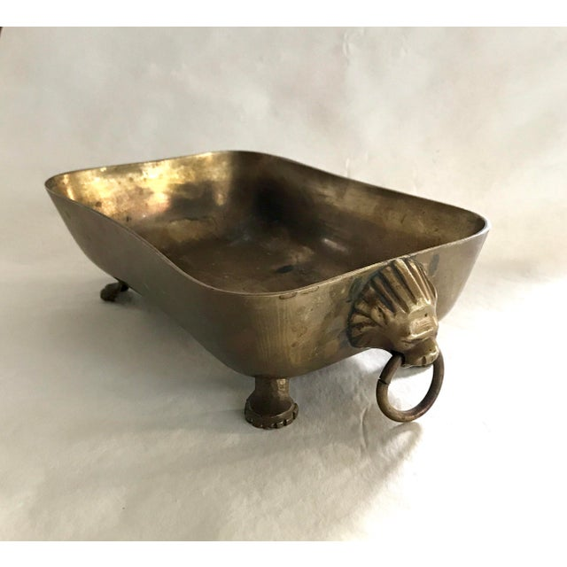 Brass Cachepot with Lion Mask Handles - Image 9 of 9