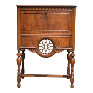 Vintage Art Deco Burl Walnut Cabinet Cocktail Mini Bar Desk For Sale
