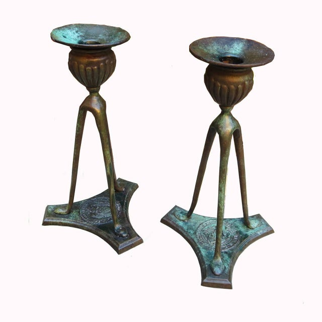 Tiffany Bronze Candlesticks 1906 For Sale - Image 9 of 9