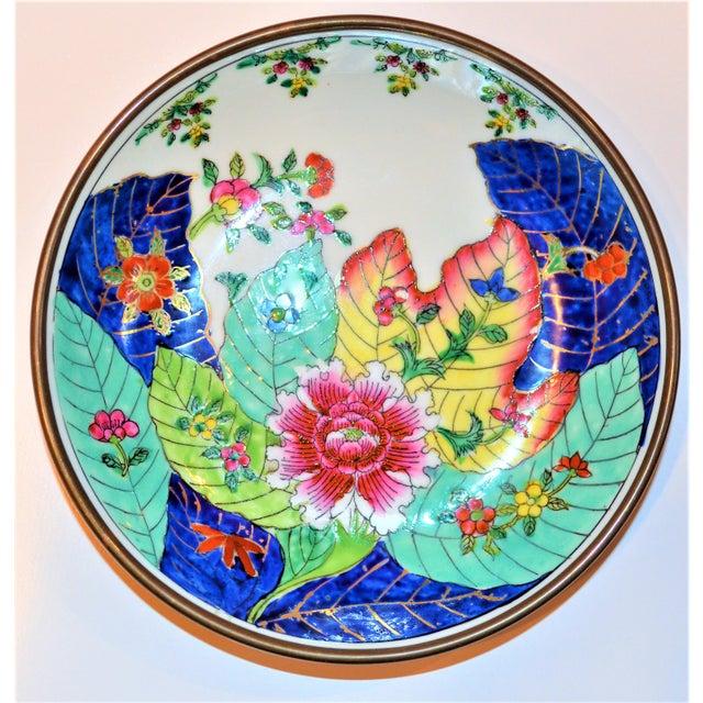 Asian 1980s Vintage Tobacco Leaf Porcelain and Brass Bowl For Sale - Image 3 of 13
