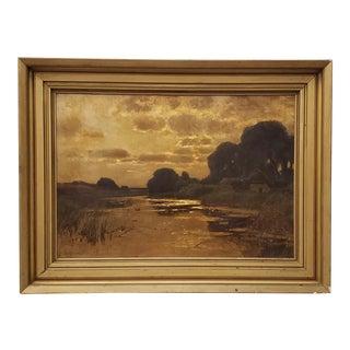 19th Century American School Luminous Landscape Oil Painting For Sale