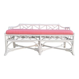 Chinese Chippendale Rattan Bench For Sale