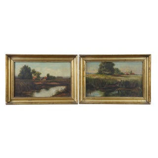 19th Century Antique Oil on Board Landscape Signed Paintings - A Pair For Sale
