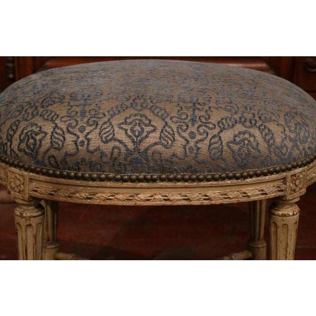 19th Century French Louis XVI Carved Painted Stool For Sale - Image 4 of 7