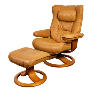 Reclining Lounge Chair and Ottoman by Hjellegjerde of Norway For Sale