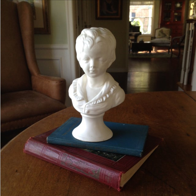Vintage White Ceramic Young Child Bust - Image 3 of 11