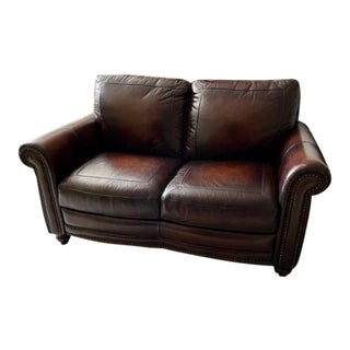 Traditional Style Bassett Leather Loveseat For Sale