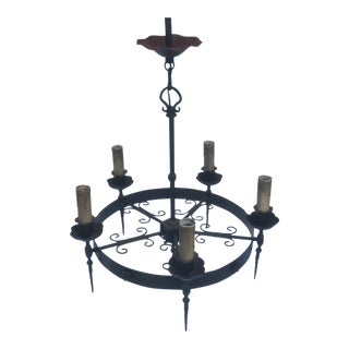 Antique Iron Chandelier in the Renaissance Revival Style For Sale