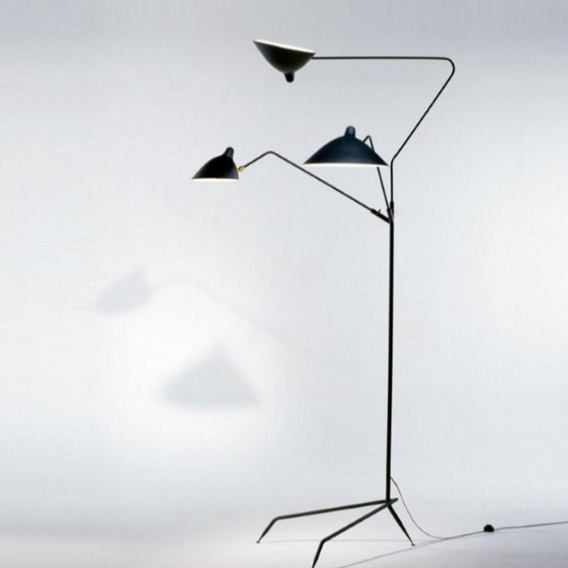 Aluminum Standing Lamp With Three Arms in Black by Serge Mouille For Sale - Image 7 of 8