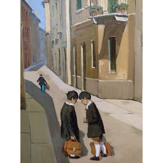 Lucio Sollazzi - School Boys at Play - Signed Italian Oil Painting C.1960s For Sale - Image 4 of 9