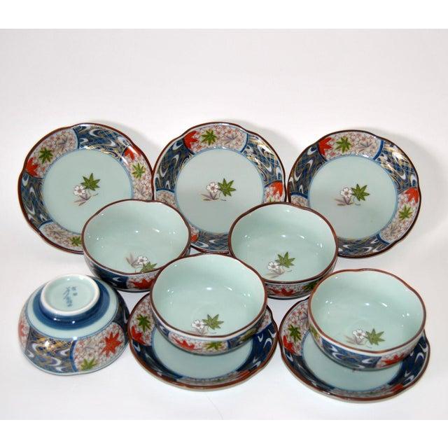 Vintage Cherry Blossom Shaped Celadon Arita Imari Cups, Saucers & Box - Set of 10 For Sale - Image 4 of 9