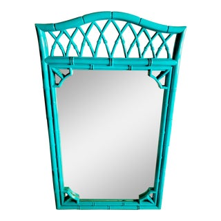 Hollywood Regency Lacquered Faux Bamboo Fretwork Mirror - Palm Beach Chic