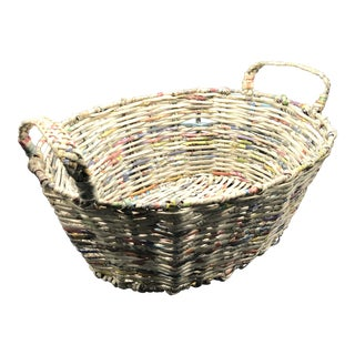 Vintage Hand Made Basket With Braided Handles - Wire and Newspaper For Sale