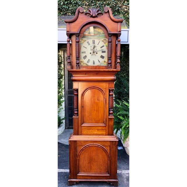 English Antique English Fruitwood Grandfather Clock C.1840 For Sale - Image 3 of 5