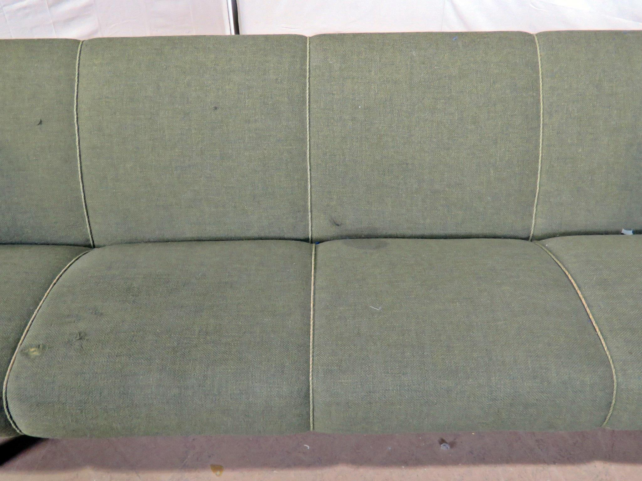 Vintage Mid Century Modern Sofa With Piping To The Upholstery.