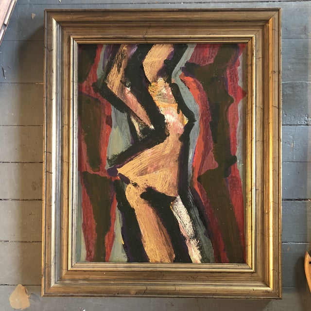 Vintage Original Abstract Female Nude Modernist Painting Framed 1960's For Sale - Image 4 of 4