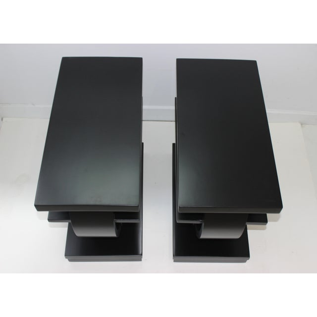 Modernage Brown Saltman Side Tables Art Deco 1930s 3-Tiers Ebonized - a Pair For Sale - Image 9 of 13