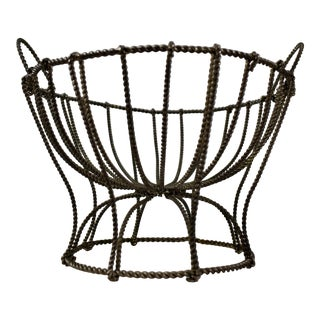 Late 19th Century French Hand Made Metal Pedestal Kitchen Basket For Sale