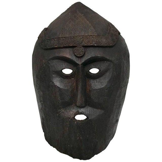 Huge Carved Mahogany Celtic Mask For Sale - Image 12 of 12