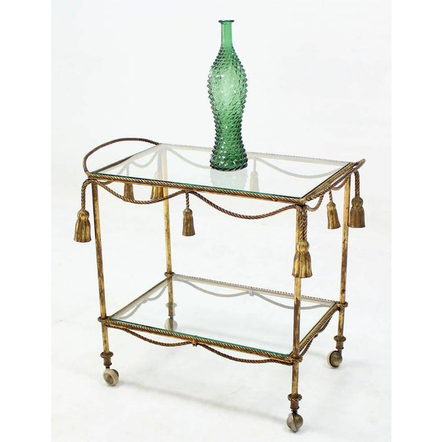 Gold Midcentury Italian Gilt Metal Rope and Tassel Bar or Tea Cart For Sale - Image 8 of 10