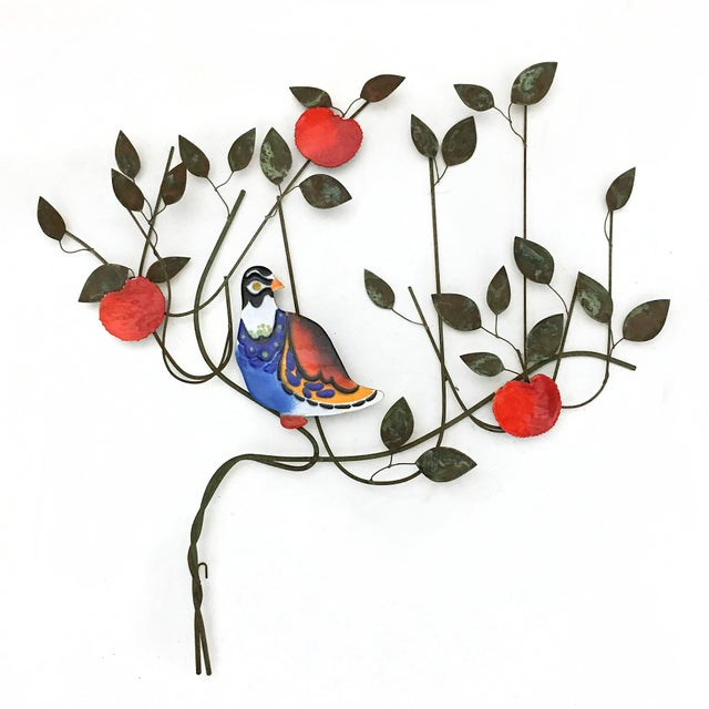 This uncommon Jeré wall sculpture from 1970 features a vividly colored bird resting in a fruit tree. It combines a wire...