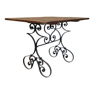 Oak Top & Antique Forged Iron Table