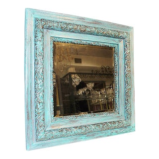 Antique Paint-Washed Beveled MIrror For Sale
