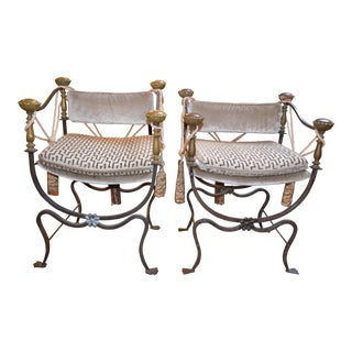 Antique Italian His and Hers Curule Savonarola Campaign Throne Chairs Newly Upholstred - Pair For Sale