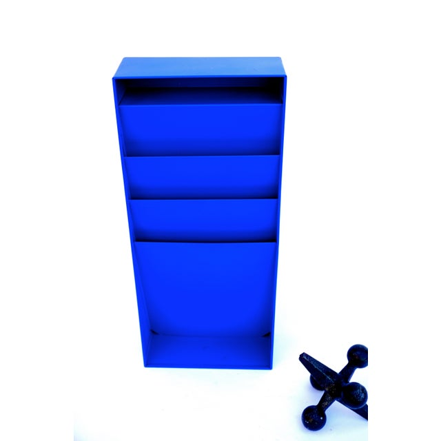 Enamel Mid-Century Industrial Steelcase Electric Blue Wall Mount File Rack For Sale - Image 7 of 10