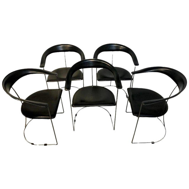 Five Italian Chrome and Black Leather Cantilever Armchairs, Handmade by Frag For Sale