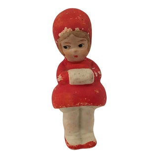Bisque Porcelain Winter Girl W/ Muff For Sale