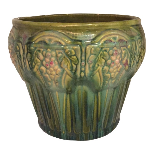 Green Ceramic Vintage Cachepot For Sale