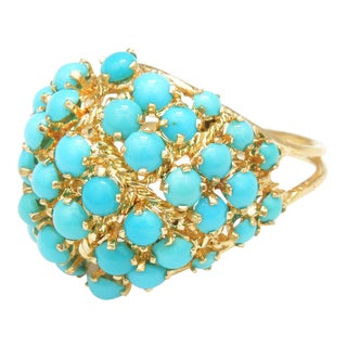 Persian Turquoise Cluster Dome Ring For Sale