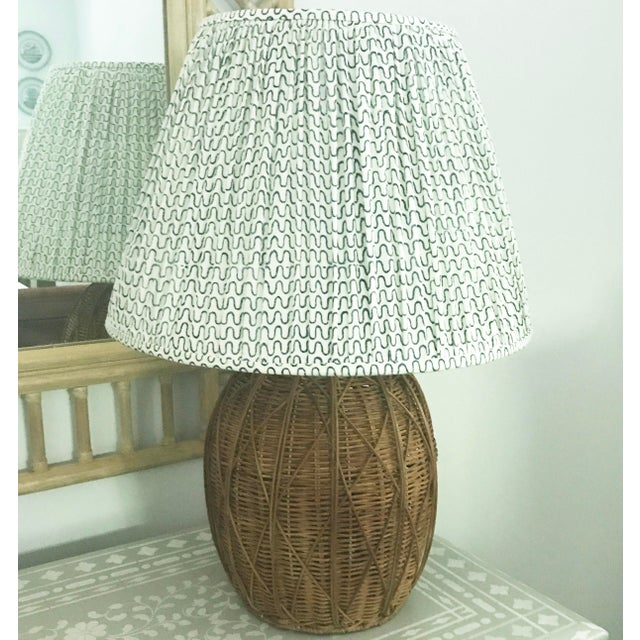 Gathered Pleat Les Indiennes Indigo Lamp Shade 9x16x12 For Sale - Image 4 of 5