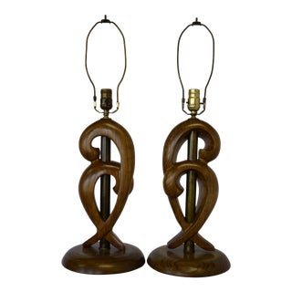 1950s Mid-Century Modern Yasha Heifetz Brass and Wood Table Lamps - a Pair