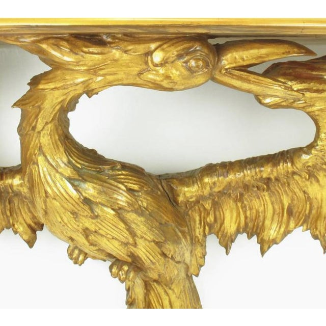 Early 20th Century Early 20th Century Italian Giltwood Phoenix Wall Mounted Console and Mirror For Sale - Image 5 of 11