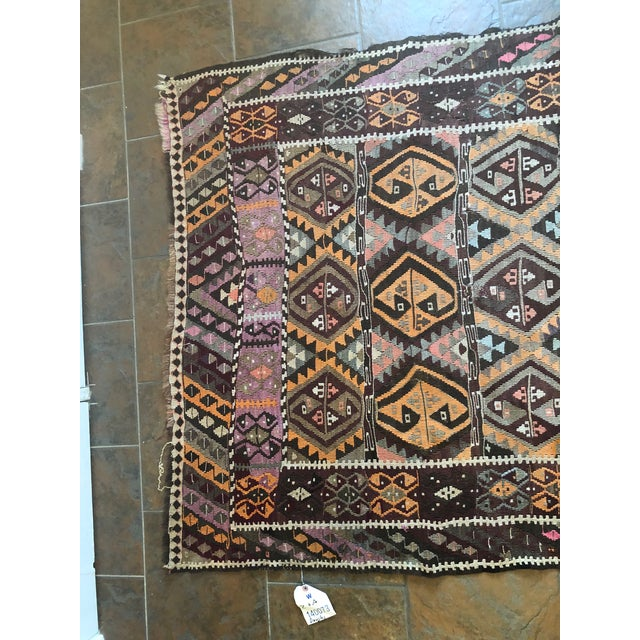 Antique Earth Tones Kilim Rug - 4′ × 9′ For Sale In New York - Image 6 of 11
