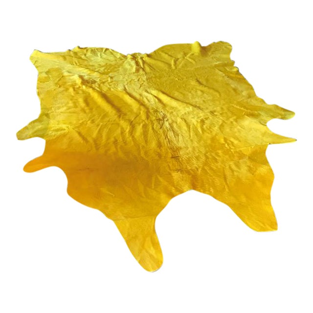 Yellow Cowhide Rug - (Large) For Sale