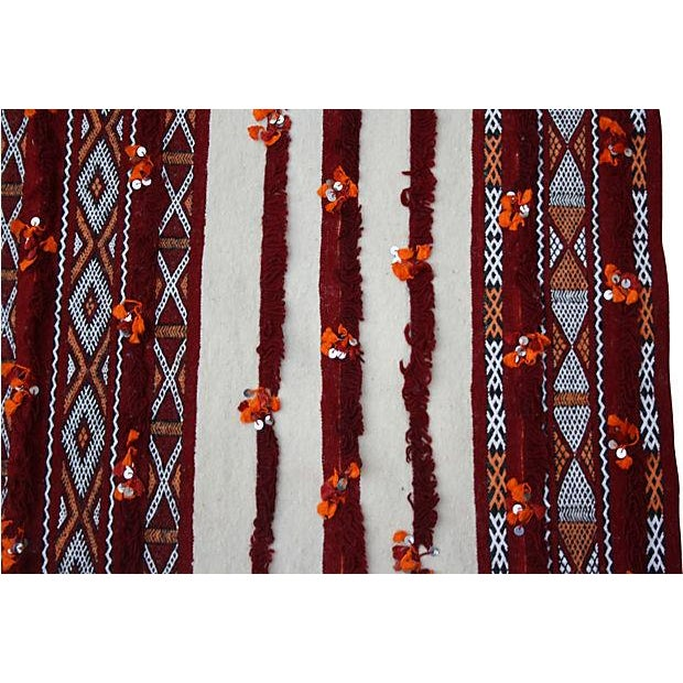 Moroccan Moroccan Orange & Cream Berber Blanket For Sale - Image 3 of 4
