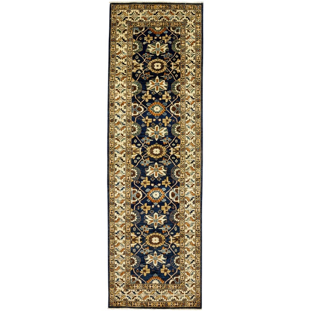 """Serapi Blue & Tan Hand-Knotted Runner - 3' 7"""" X 11' 8"""" - Image 1 of 3"""