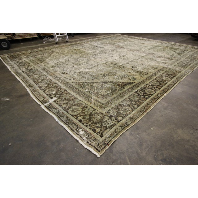 Late 19th Century Distressed Antique Persian Mahal Rug With Modern Industrial Style, 10'06 X 13'07 For Sale - Image 5 of 8