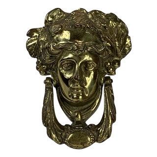 Roman Figure Brass Door Knocker on Lucite For Sale