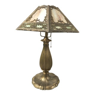 Tiffany Style Lamp With Malachite Glass For Sale