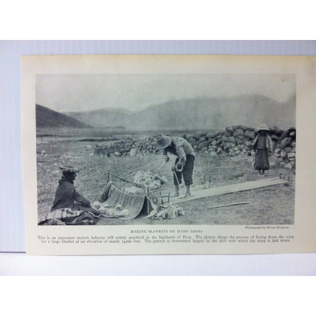 "This is an Antique National Geographic Print on Paper that is titled ""Making Blankets on Hand Looms. The Print was..."