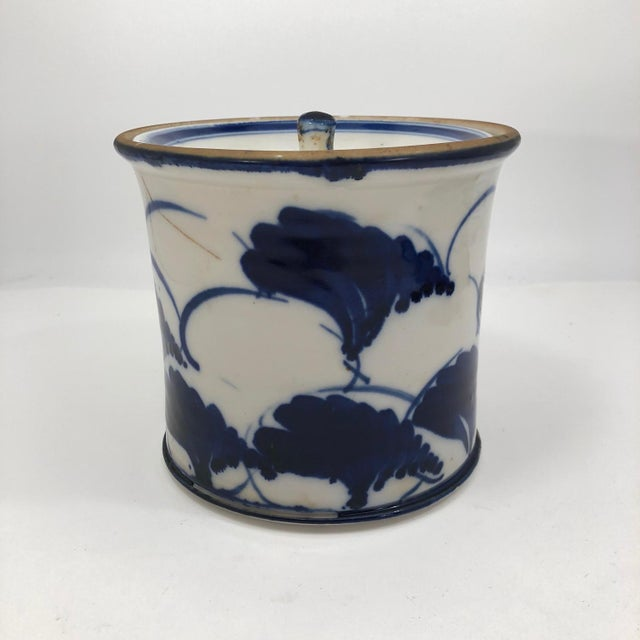 Blue and White Lidded Porcelain Mizusashi With Handpainted Ginko Leaf Design For Sale - Image 4 of 13