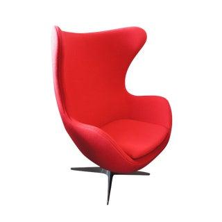 Mid-Century Modern Atomic Egg Swivel Chair With Tilt Lock Mechanism Red Wool For Sale