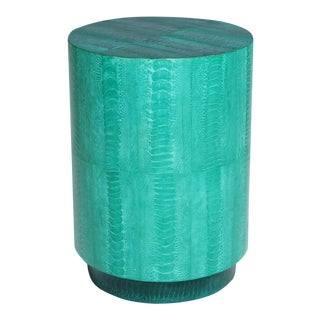 Contemporary Jade Ostrich Skin Barrel Side Table