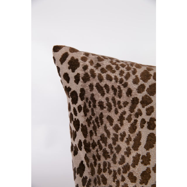 Chocolate Velvet Cheetah Pillows - A Pair - Image 3 of 5